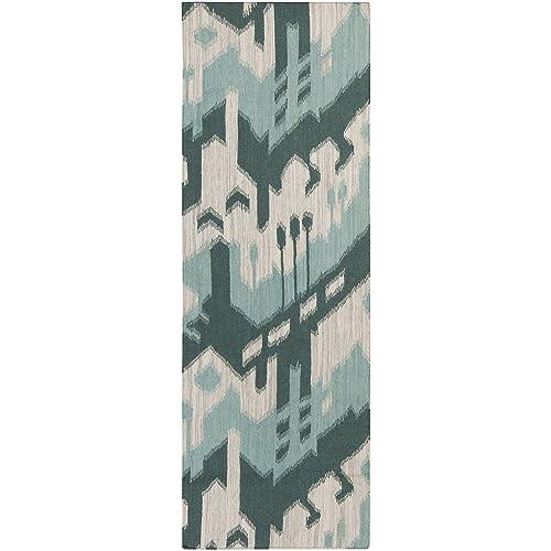 Surya Jewel Tone JT-238 Flatweave Hand Woven 100 Wool Peacock Green 2 6 x 8 Global Runner