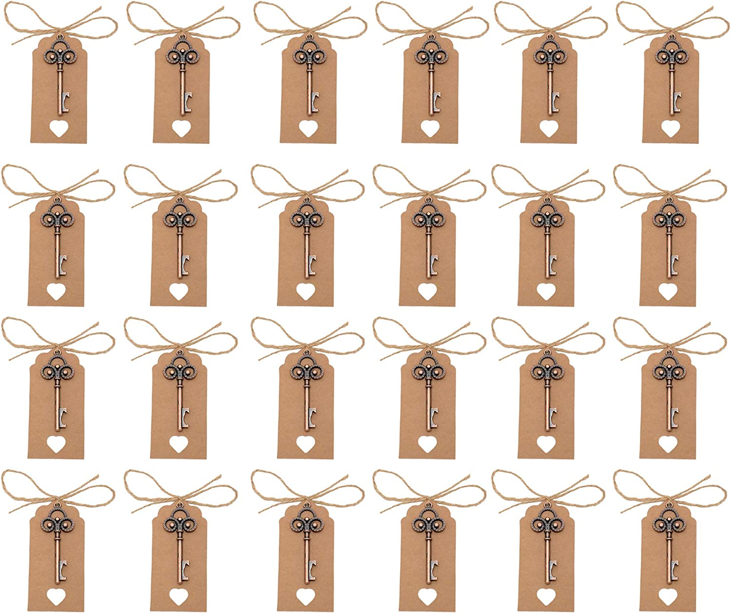 Yansanido Pack of 50 Skeleton Key Bottle Opener with Escort Tag Card and Twine for Wedding Favors for Guests Party Favors (style 1)