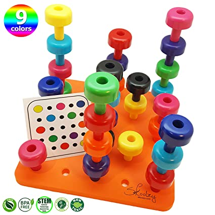 9f38ce847df4 Skoolzy Toddler Learning Toys - Peg Board Montessori Toys for Toddlers Age  1 2 3 4 5 Year Olds - 32 pc Occupational Therapy Games for Kids - 9 Color  Sorting ...