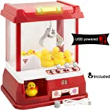 Gadgy  Candy Grabber with USB-cable and 9 Plastic Ducks | Party Claw Arcade Machine with Timer | Traditional Fairground Game Replica Red