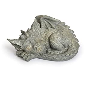Besti Decorative Outdoor Dragon Garden Statue - Cold Cast Ceramic Statue | Lawn and Yard Decoration | Weather-Resistant Finish (Facing Left)