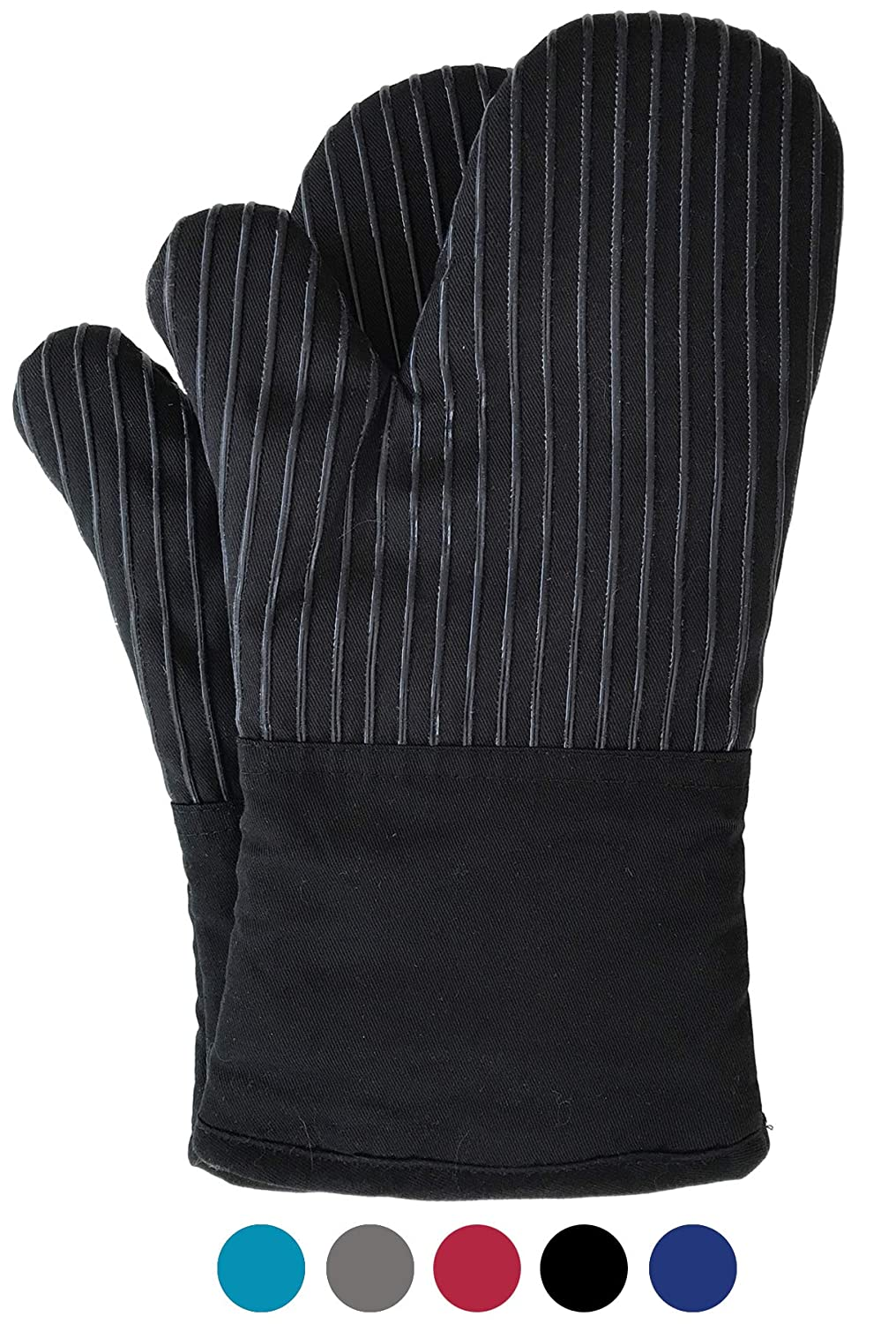BIG RED HOUSE Oven Mitts, with The Heat Resistance of Silicone and Flexibility of Cotton, Recycled Cotton Infill, Terrycloth Lining, 480 F Heat Resistant Pair Black