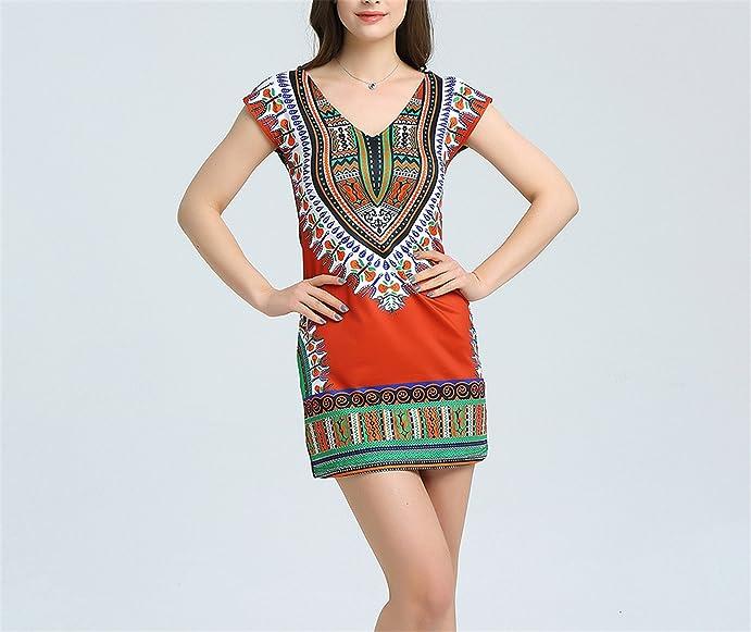 Amazon.com: Eloise Isabel Fashion Tradicional africano Impressão Boho Vestidos femme robe plus size vestidos Sensuais: Clothing