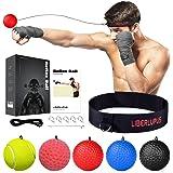 Liberlupus Boxing Reflex Ball, 5 Difficulty Levels Punching Ball with Headband, Home Training Equipment for Hand Eye Coordina