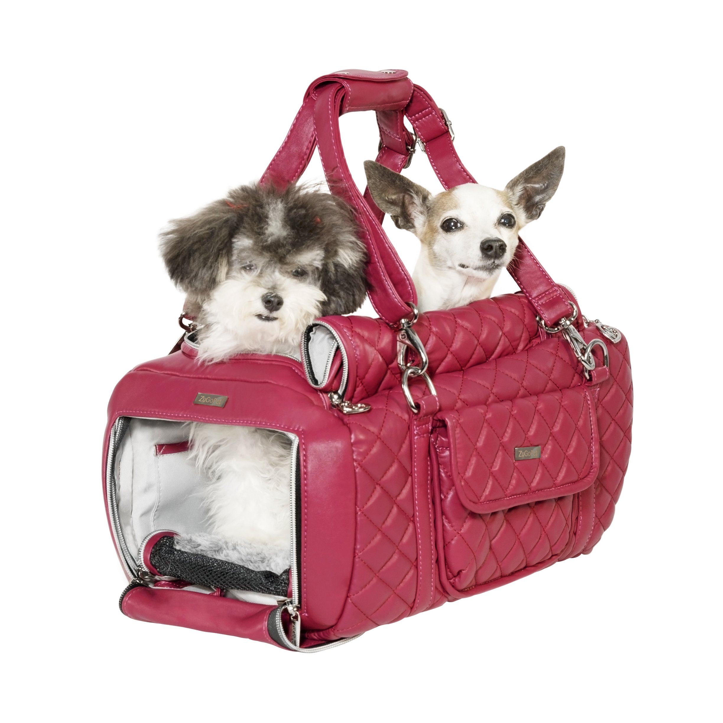 ZuGoPet Faux Leather Pet Carrier Handbag Purse Bag Dogs and Cats (Pink)
