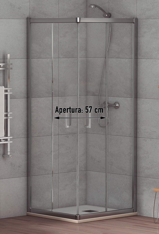 Mampara de Ducha Angular Modelo ALABAMA (2 Hojas Fijas y 2 ...