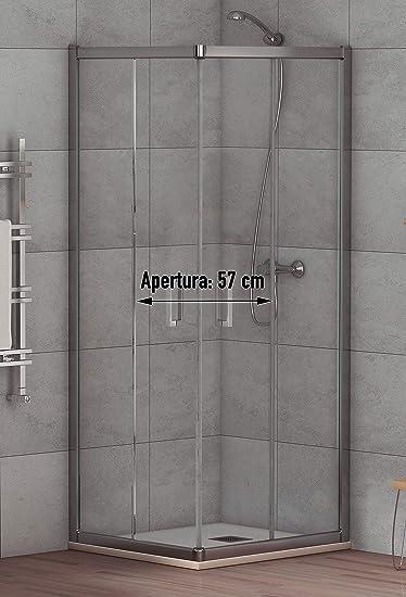 Mampara de Ducha Angular Modelo ALABAMA (2 Hojas Fijas y 2 Correderas) Cristal de Seguridad de 6mm y Perfil Aluminio Cromado 80x120 (Adaptable 78-80cm a 118-120cm): Amazon.es: Bricolaje y herramientas