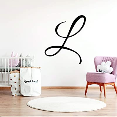 "Boy or Girl Nursery Single Initial Wall Decal Sticker Wall Name for Custom Font and Color Choice Decor for Name Decal (25"" High): Baby"