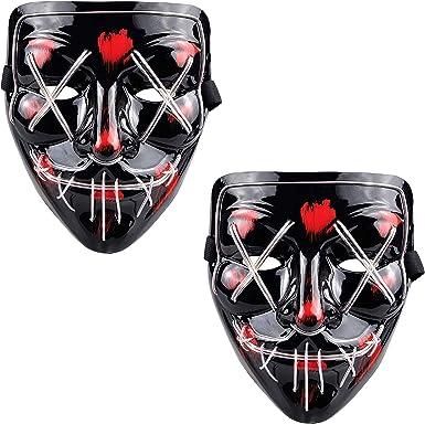 Máscara De Purga Con Luces Led Para Disfraz De Halloween Máscara Para Adultos 2 Unidades Clothing