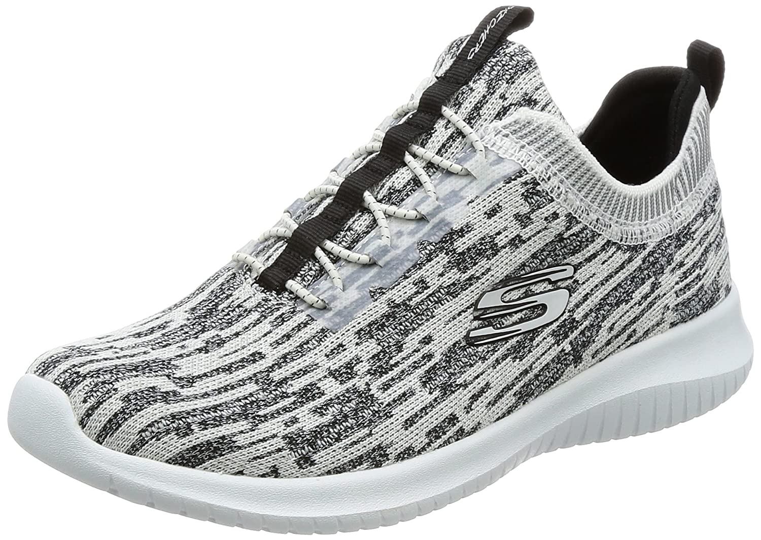 Skechers Women's Ultra Flex Bright Horizon Sneaker B01MZC6JEQ 9 B(M) US|White/Black