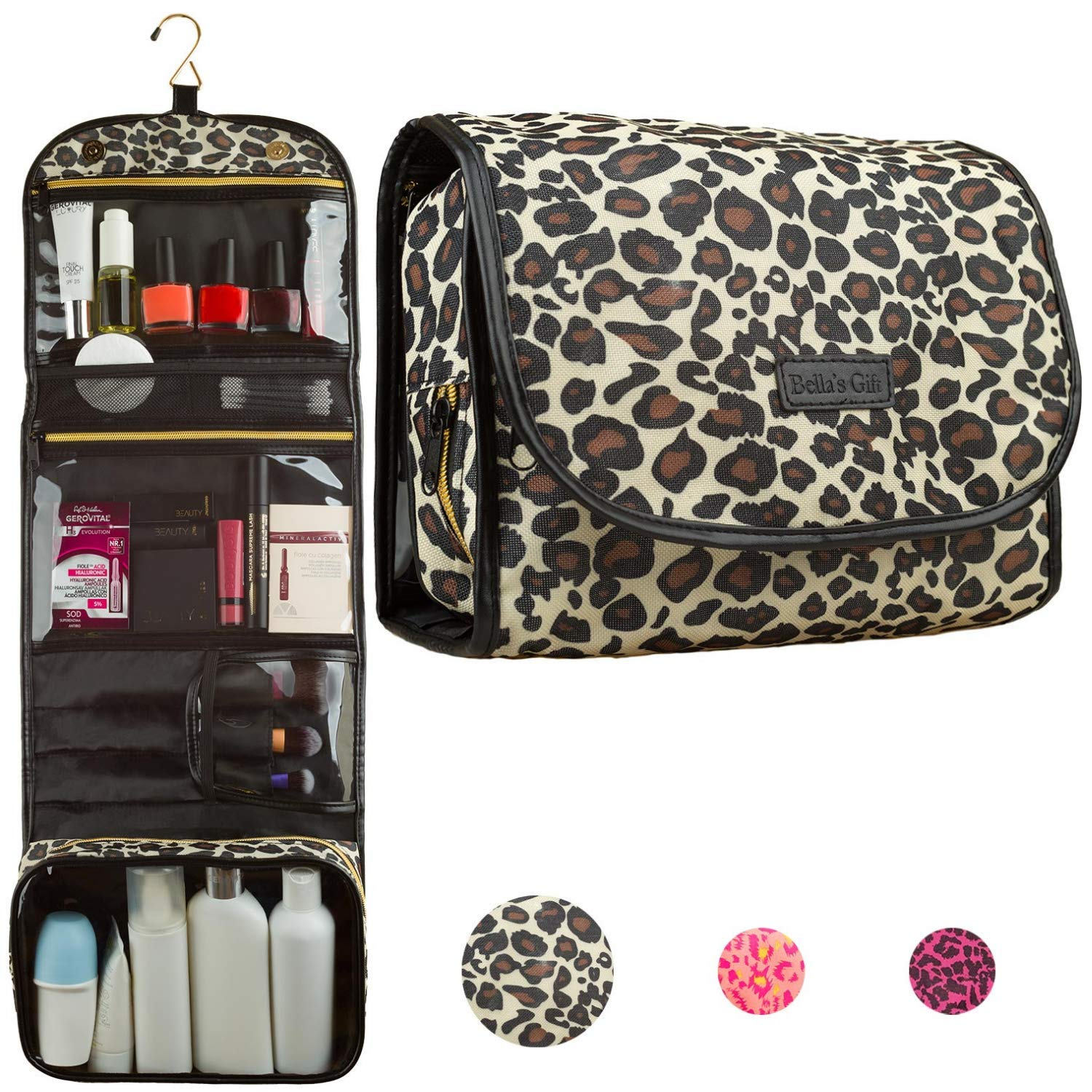 Hanging Travel Toiletry Bag - Cosmetic Make Up Kit - Bathroom Shower Organizer for Women and Girls - TSA Approved by Bella's Gift