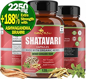 Organic Shatavari Capsules 2250mg & Ashwagandha, Bacopa| Balance Women Hormone Supplements, Breastfeeding Root Powder Extract| Rejuvenation, Anxiety Stress Relief, Prolactin Lactation Support, 120Caps