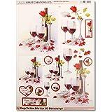 Craft Creations DCD588 Wine And Roses Patron de découpe 3D Format A4 210x297mm