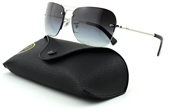 52dfb16b11 Amazon.com  Ray-Ban RB3541 Unisex Rectangular Metal Sunglasses (Silver  Frame Gray Gradient Lens 003 8G