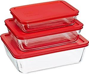 Pyrex Rectangular Food Storage, Red, (6 Pack)