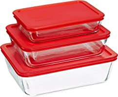 6 Piece Bakeware/Cookware Set with Red Plastic Covers