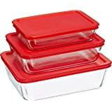 Pyrex Rectangular Food Storage, Red, (6 Pack)