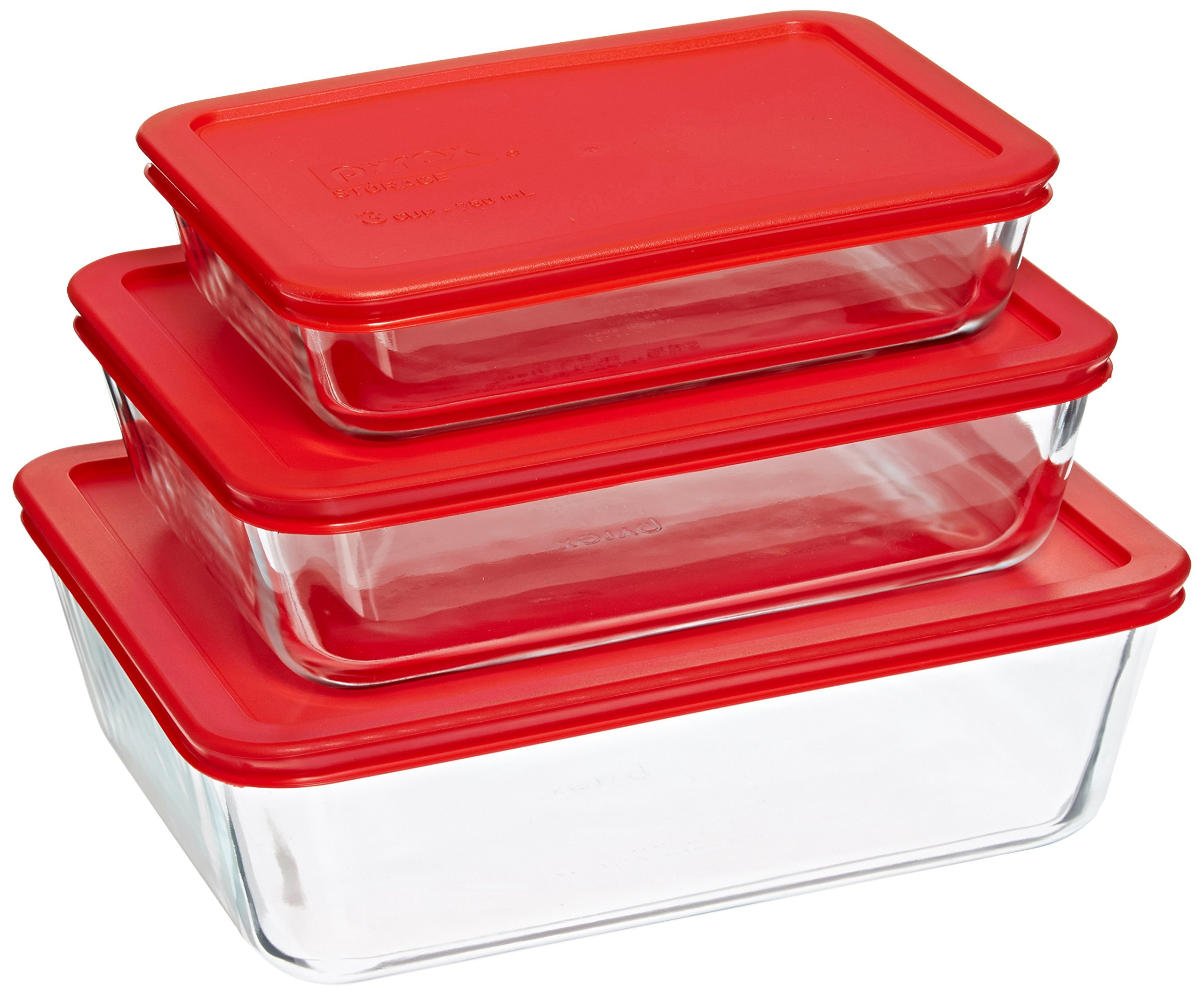 Pyrex Simply Store Glass Rectangular Food Container Set with Red Lids (6-Piece) by Pyrex