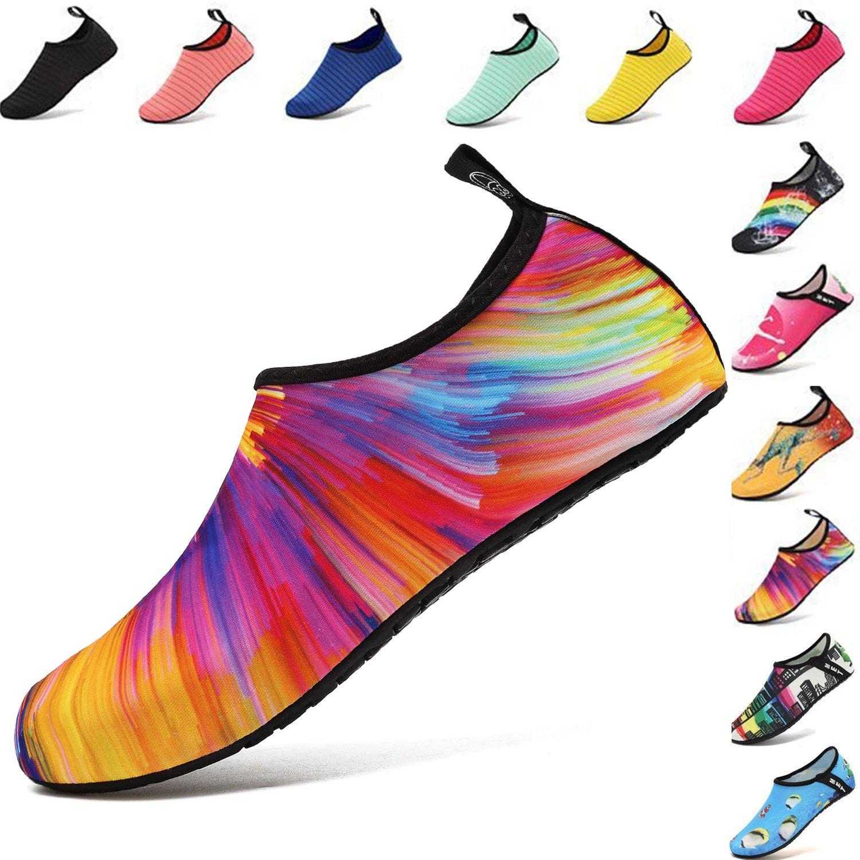 VIFUUR Water Sports Shoes Barefoot Quick-Dry Aqua Yoga Socks Slip-on for Men Women Kids Colorful-38/39