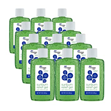 Mountain Falls Pain Relieving Sunburn Relief Gel with Aloe Vera and  Lidocaine HCl, 8 Ounce (Pack of 12)
