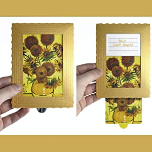 Greeting Card Drawing Art Wishes - Birthday card Presents Gift - 4x6 Vintage card - 3-d Art cards BANKSY Framed – greeting card with Holder (Sunflowers)