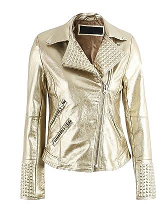 7875a98408a7 Simplee Apparel Damen Jacke Herbst Winter Cusual PU Leather Zipper Jacke  Glanz Bikerjacke Gold