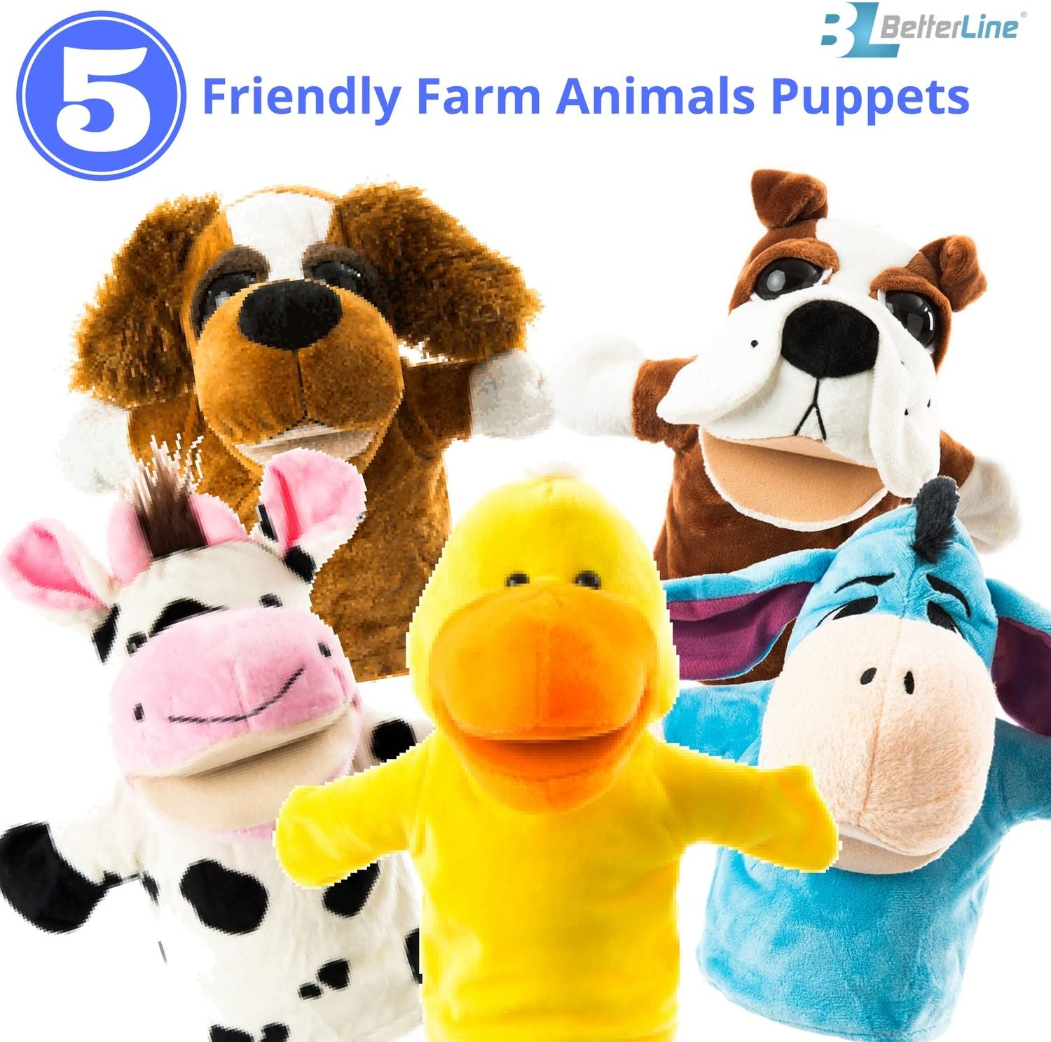 "Animal Hand Puppets 5-Piece Set - Premium Quality with Movable Open Mouths, 9.5"" Soft Plush Hand Puppets For Kids- Perfect For Storytelling, Teaching, Preschool - by Better Line (Farm Animals)"