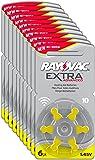 Varta Rayovac Extra Advanced Zinc Air Hearing Aid Batteries, Size 10, Yellow Tab, Pack of 60