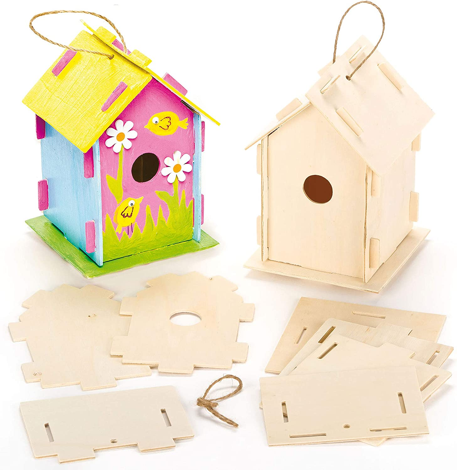 Baker Ross Ef665 Wooden Birdhouse Kits Pack Of 2 For Kids To Make Decorate Amazon Co Uk Kitchen Home