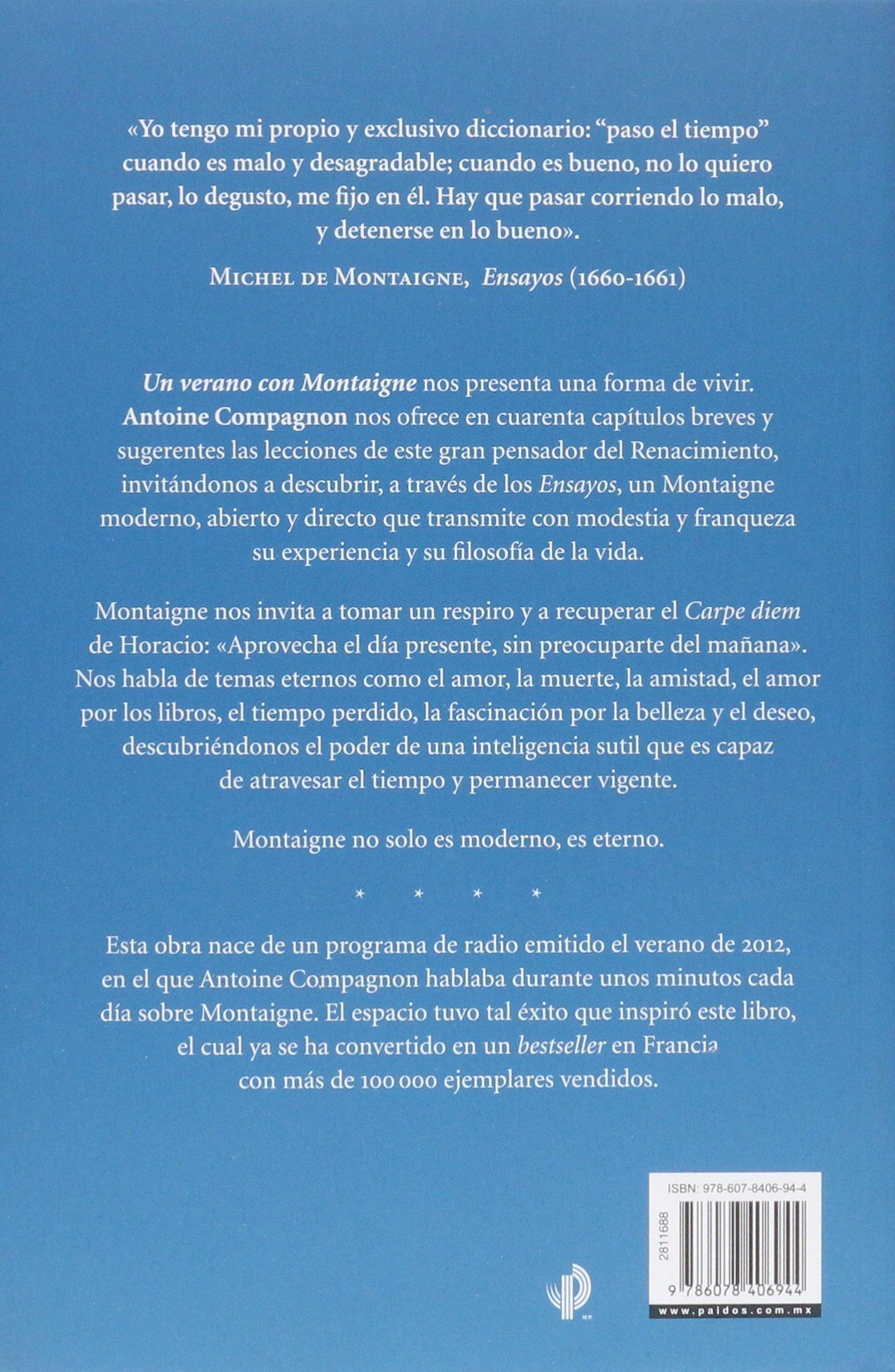 Un Verano Con Montaigne Compagnon Antoine 9786078406944 Books