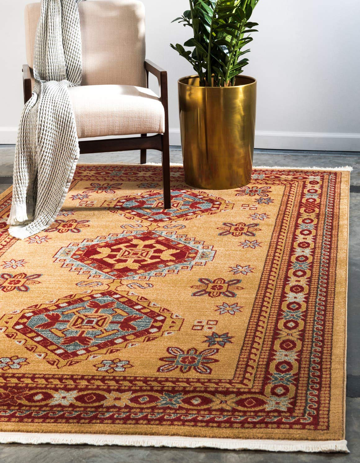 Unique Loom Sahand Collection Traditional Geometric Classic Beige Area Rug 3 3 x 5 3