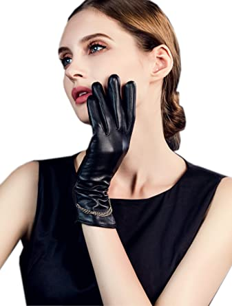 d1cc8f949 YISEVEN Women's Winter Touchscreen Genuine Lambskin Leather Gloves Fleece  Lined Long Cuff Chain Soft Fur Lining