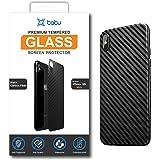 Tatu 3D Carbon Fiber Scratch Resistant Back Cover Protector Case for Apple iPhone XS MAX - Black