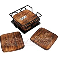 Craftland Wooden Coaster Set of 6 with Carved Flower Design on Coaster with Wrought Iron Holder for Coffee Table/Kitchen/Dining Table
