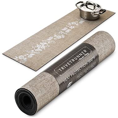 Trivetrunner :Decorative Trivet and Kitchen Table Runners Handles Heat Up to 300F, Anti Slip for Hot Dishes and Pots, Protect Furniture Countertops,Dressers and Island Protector(Jute & flowers)
