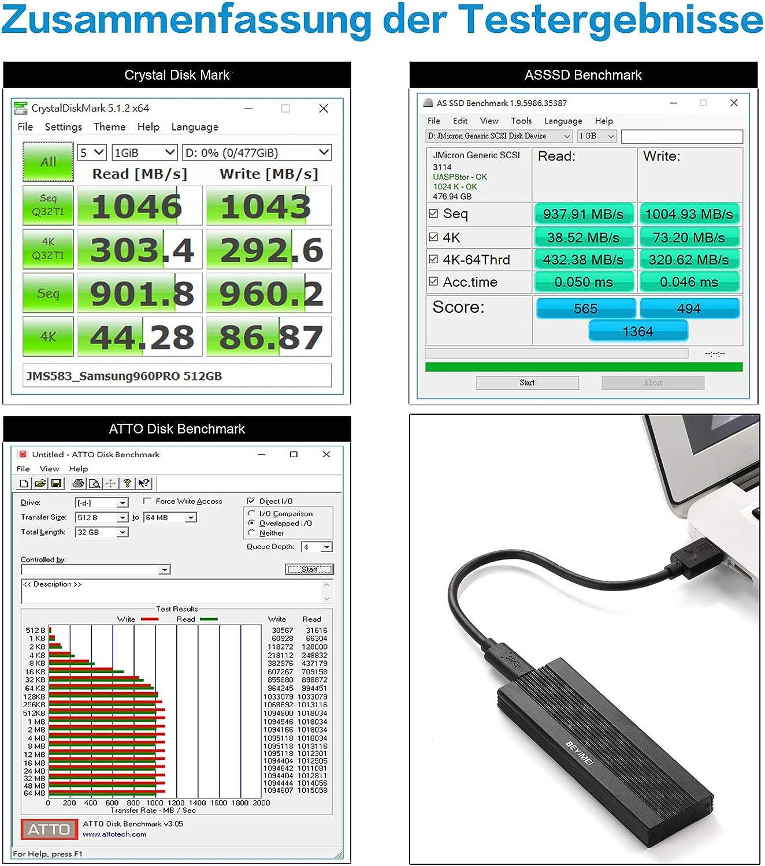 BEYIMEI - Carcasa USB 3.1 Gen2 M.2 Key-M PCIe Extern - 10 Gbit s ...