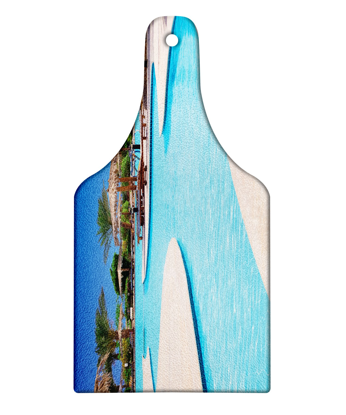 Lunarable Holiday Cutting Board, Swimming Pool of Hotel Resort Relaxation Tourism Vacation Tourist Attractions, Decorative Tempered Glass Cutting and Serving Board, Wine Bottle Shape, Cream Aqua Green