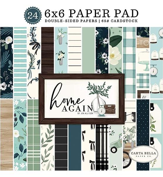 Carta Bella Paper Company CBHOA109023 Home Again 6x6 Pad paper green woodgrain blue teal black