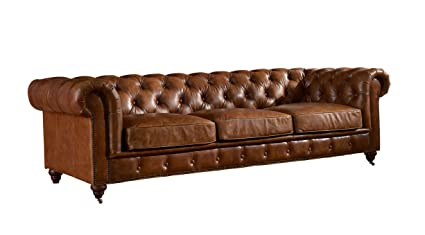 Genial Crafters And Weavers Top Grain Vintage Leather Chesterfield Sofa