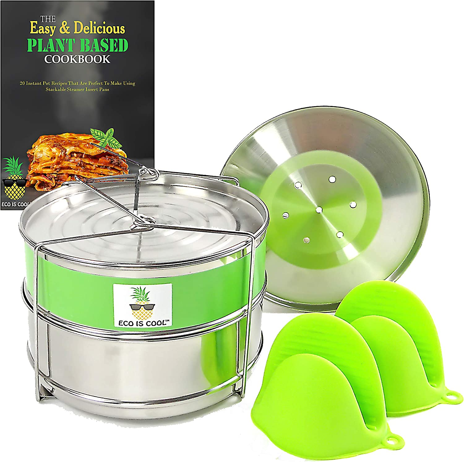 Stackable Steamer Insert Pans with Sling for Instant Pot Accessories 5/6/8 qt - Pot in Pot Cooking, Interchangeable Lids, Silicone Mitts + RECIPE BOOK