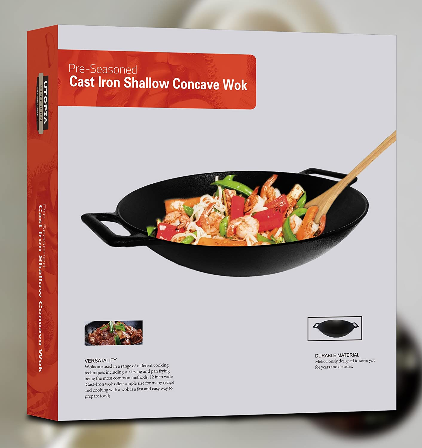 cast iron shallow concave wok black by utopia