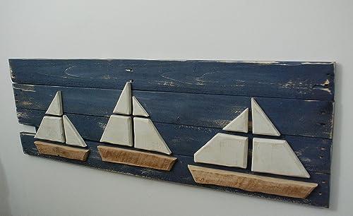Sailboat Wall Art, Nautical Beach Wall Art Decor Sign Boat Picture Nautical Beach Picture, Wood Sailboat, Beach Decor