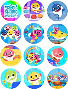 "Little Shark for Baby Shower Stickers, Large 2.5"" Round Circle DIY Stickers to Place onto Party Favor Bags, Cards, Boxes or Containers -12 pcs, 1st Birthday Infant Toddler Mommy Daddy Grandpa Grandma"