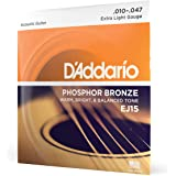 D'Addario EJ15 Phosphor Bronze Acoustic Guitar Strings, Extra Light (1 Set) – Corrosion-Resistant Phosphor Bronze, Offers a Warm, Bright and Well-Balanced Acoustic Tone and Comfortable Playability