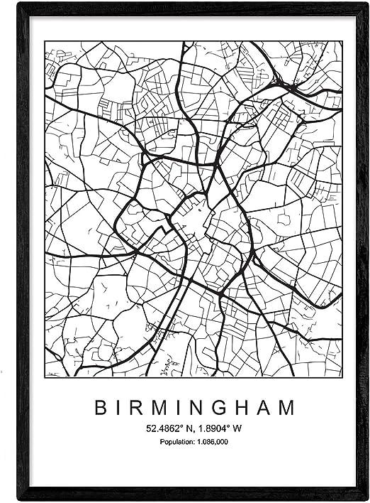 Nacnic Lámina Mapa de la Ciudad Birmingham Estilo nordico en ...