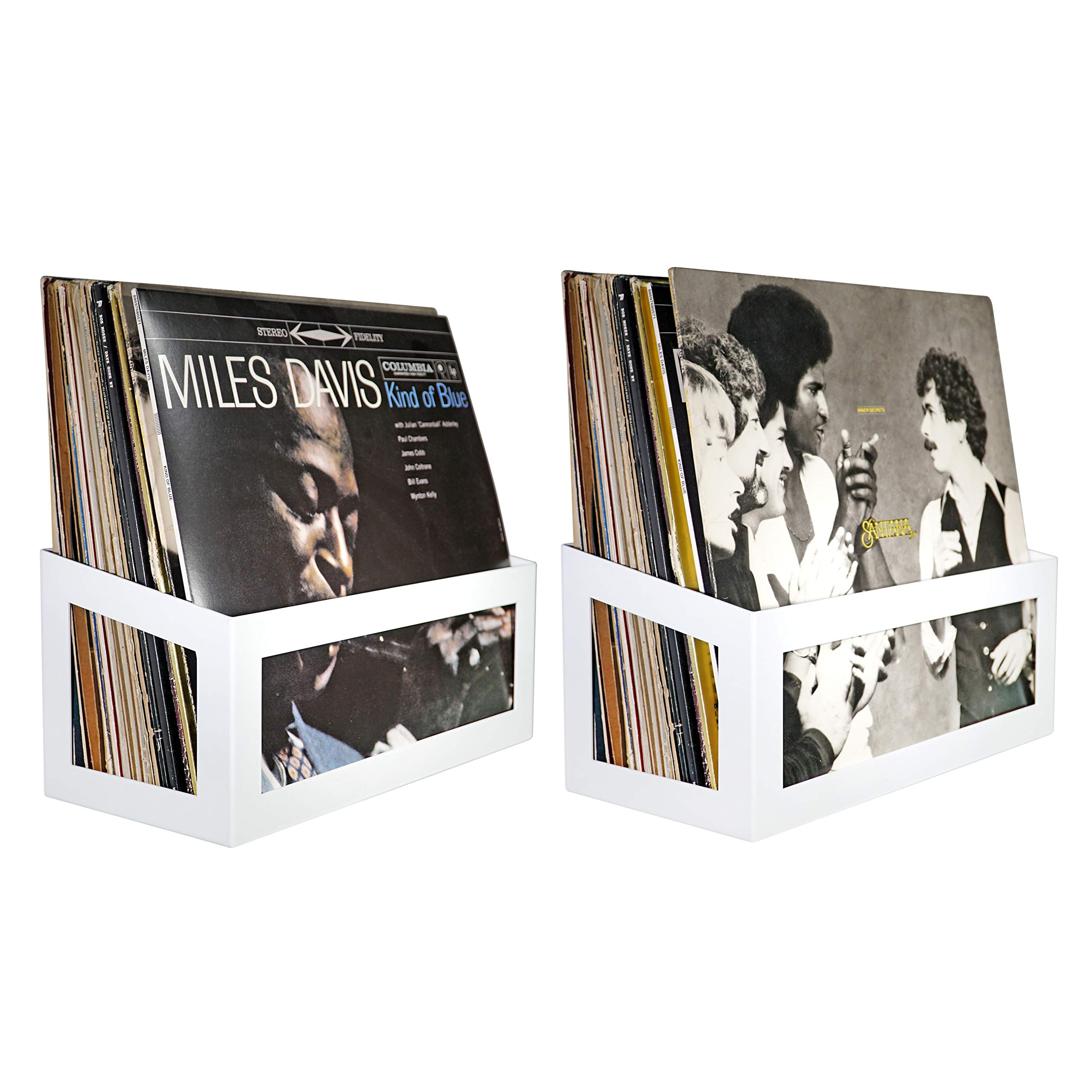 Hudson Hi-Fi Wall Mount Vinyl Record Storage 25-Album Display Holder | White Pearl | Two Pack by Hudson Hi-Fi