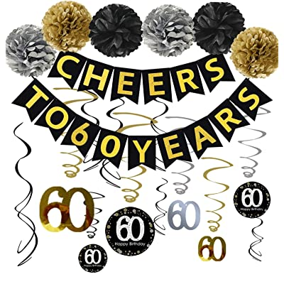60th Birthday Party Decorations KIT - Cheers to 60 Years Banner, Sparkling Celebration 60 Hanging Swirls, Poms, Perfect 60 Years Old Party Supplies 60th Birthday Decorations: Toys & Games