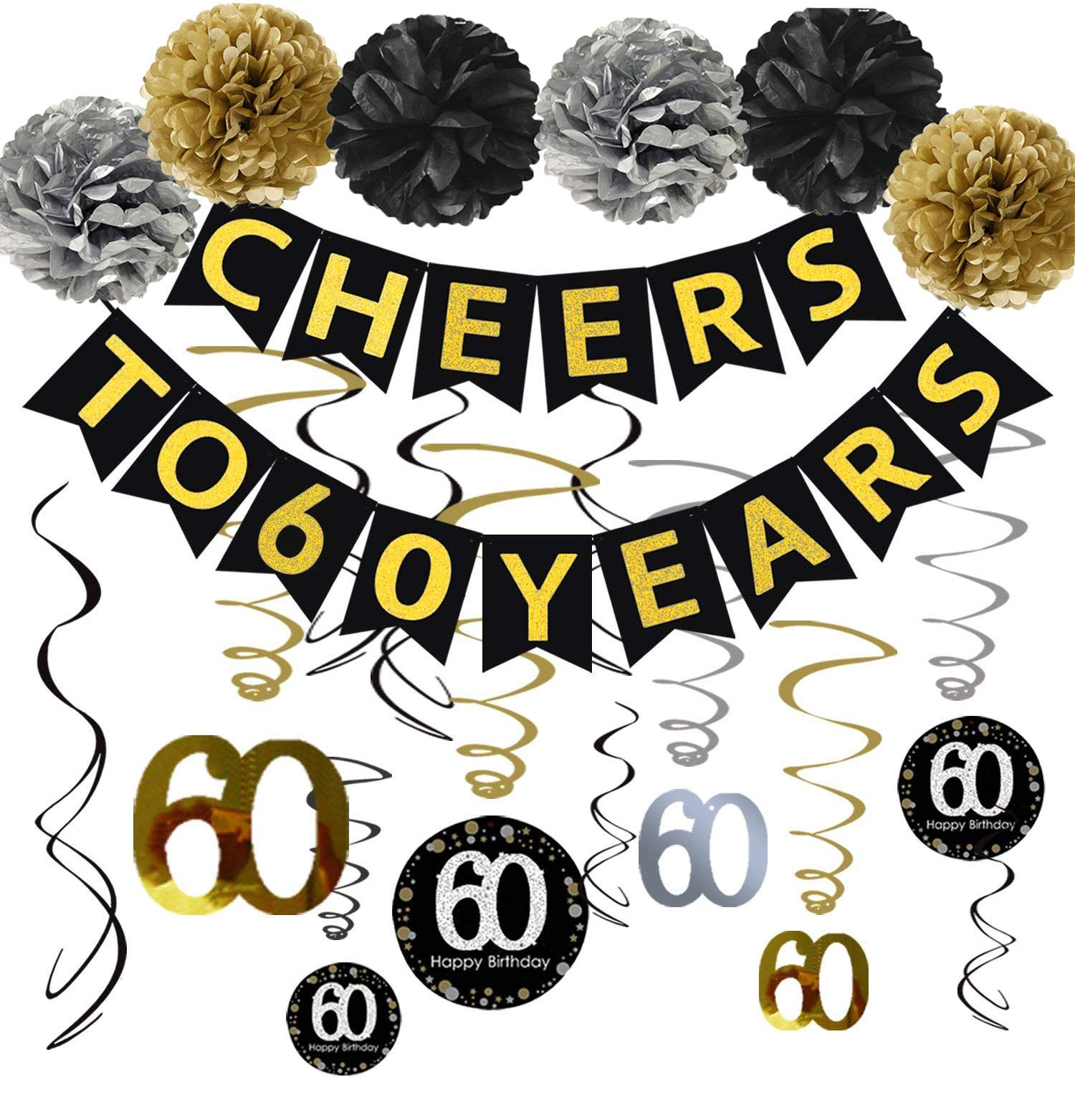 60th Birthday Party Decorations KIT - Cheers to 60 Years Banner, Sparkling Celebration 60 Hanging Swirls, Poms, Perfect 60 Years Old Party Supplies 60th Anniversary Decorations by Famoby