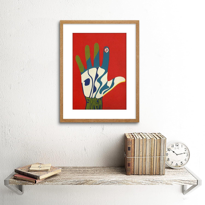 Wee Blue Coo Propaganda Political Israel Shalom Peace Hand Colour Framed Art Print B12X4533