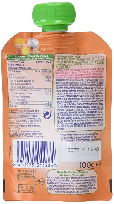Hero - Bolsita Nanos. 100 g Desayuno Yogur Con Bizcocho - [Pack de 18]: Amazon.es: Alimentación y bebidas